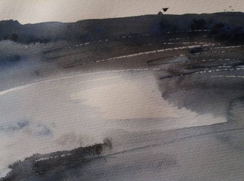 Zima, akvarel, 2020, 3 Winter, watercolour, 2020