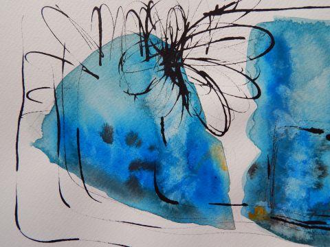 Cvet, akvarel, 2019, 5 Flower, watercolour, 2019